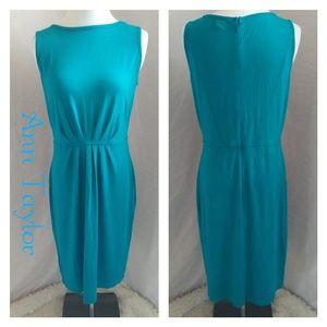 Ann Taylor dress knit sheath blue size 6 pleats